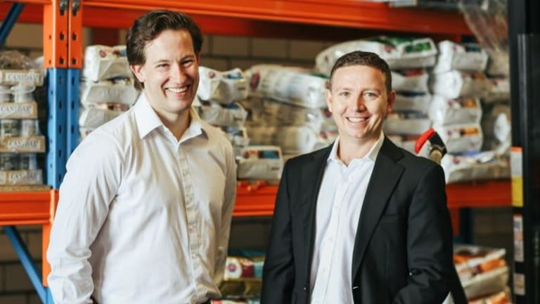 Perfect idea: Pet Circle founders (from left) James Edwards and Michael Frizell.