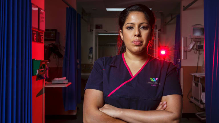 Footscray Hospital senior nurse Chantelle D'Souza. D'Souza, an asthmatic, needed treatment herself as she organised extra emergency staff.