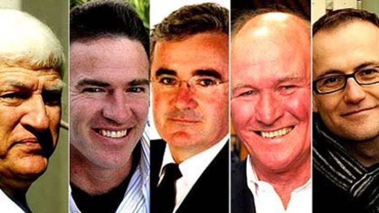 Decision time ... Bob Katter, Rob Oakeshott, Andrew Wilkie, Tony Windsor and Adam Bandt.