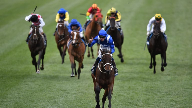 Daylight second: Hugh Bowman and Winx win the Cox Plate in 2016.