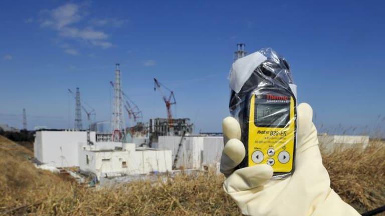 A radiation monitor at the tsunami-crippled Tokyo Electric Power Co. (TEPCO)'s Fukushima Daiichi nuclear power plant in Fukushima.