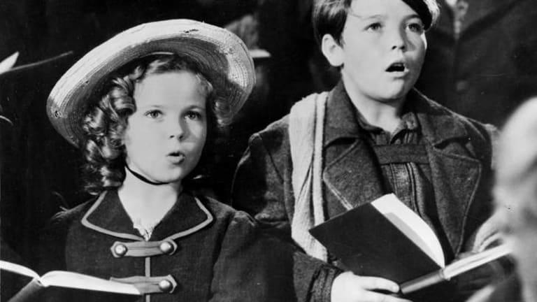 "Shirley Temple as Heidi in a scene from the 1937 film ""Heidi"" with Delmar Watson."