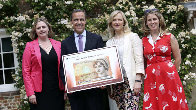 On display: from left to right, Mary Macleod, a Conservative MP, Mark Carney, governor of the Bank of England, Stella Creasy, a Labour MP, and Caroline Criado-Perez with  the concept design for the  banknote featuring author Jane Austen at the Jane Austen House Museum in Chawton.