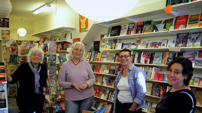 Handover ... Gail Hewison and Libby Silva, left, with new owners Jo Angri and Cat Giuliano.