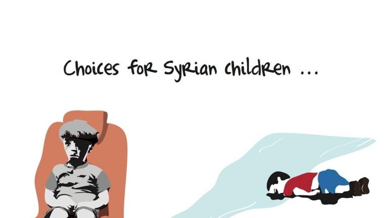 Khalid Albaih's cartoon comparing Omran Daqneesh with drowned toddler Alan Kurdi.