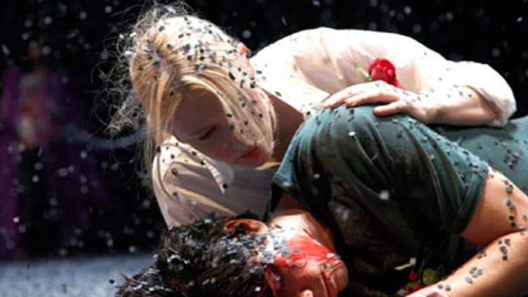 Tour de force ... Cate Blanchett dominates the stage in The War of the Roses.