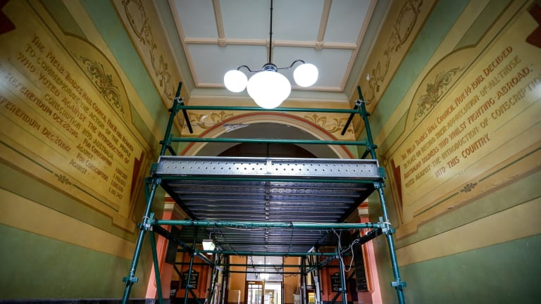 Inside Trades Hall which is falling into disrepair