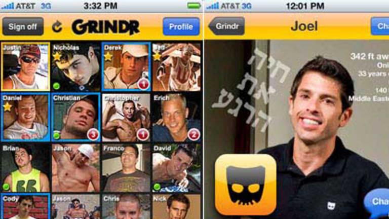The Grindr app, left, and founder Joel Simkhai's profile.