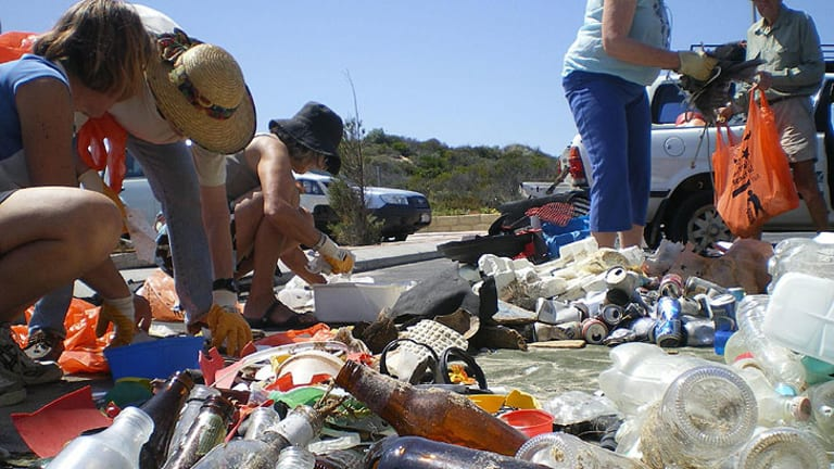 Volunteers sorting and recording marine debris collected at Binningup Beach during the 2010 South West Beach Cleanup.