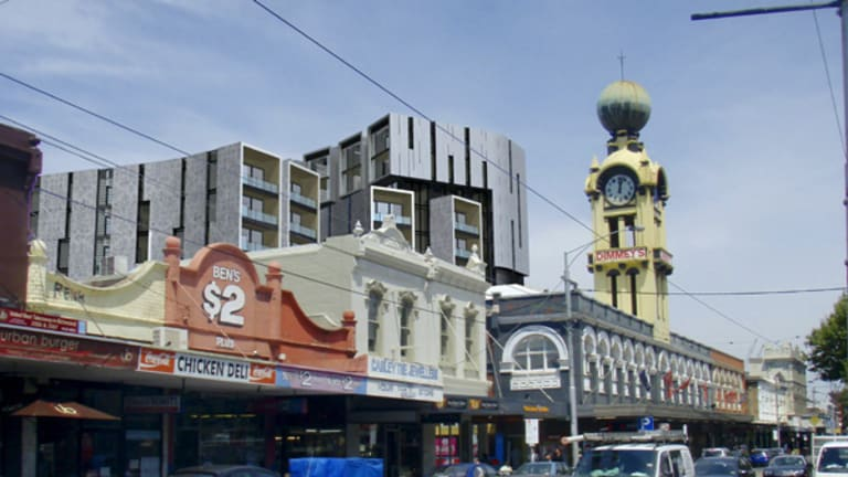 Swan Street Richmond, with proposed redevelopment in the background. Will new upwardly mobile residents accept street violence?