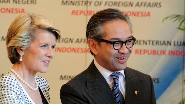 Indonesian Foreign Minister Marty Natalegawa with Foreign Minister Julie Bishop recently. The Indonesian government is becoming increasingly frustrated with boat turn backs.