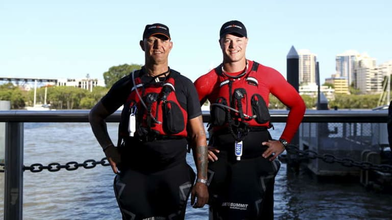 Current and former Australian Defence Force personel - including Paul McGrath and his son Sapper Curtis McGrath - kayaked into Brisbane along the Brisbane River as part of the Mates 4 Mates initiative. They kayaked from Sydney to Brisbane to raise awarness for returning servicemen.