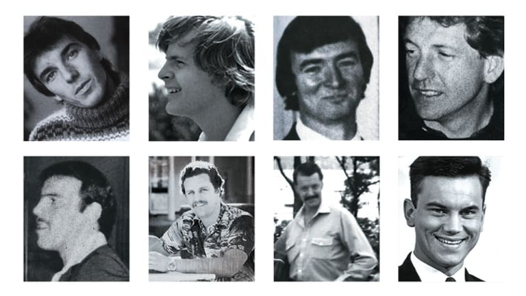 Victims … (clockwise from top left) Gilles Mattaini, Scott Johnson, Raymond Keam, John Russell, Ross Warren, Cyril Olsen, Peter Sheil and Richard Johnson.