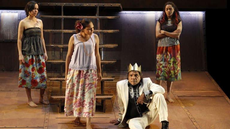 Rarriwuy Hick (Cordelia), Jada Alberts (Goneril), Natasha Wanganeen (Regan) Tom E Lewis and in <i>The Shadow King</i>.