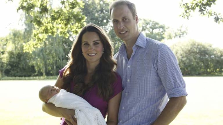 William and Catherine pose in the garden of the Middleton family home.