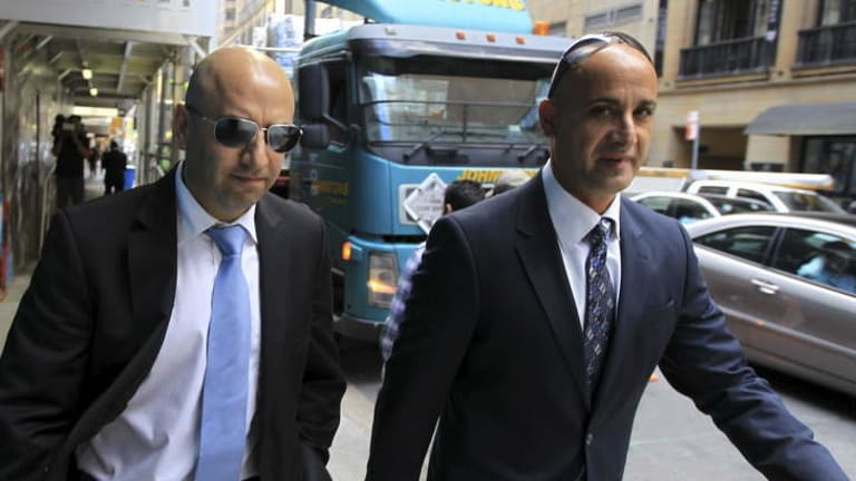 Eddie Obeid's son-in-law, Sam Achie, right, with Obeid son Paul Obeid.
