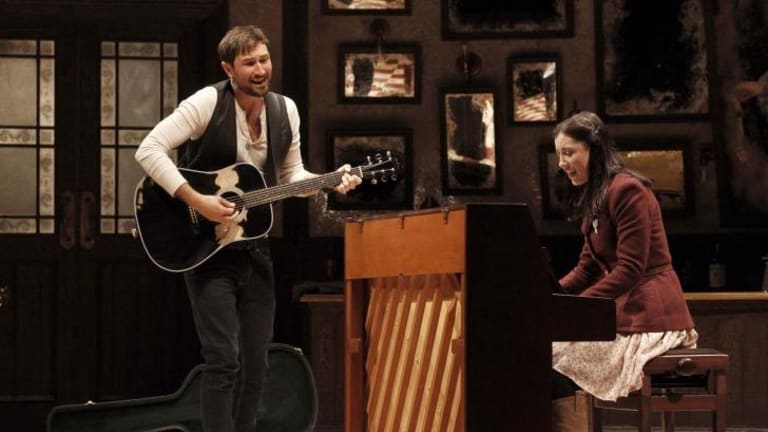 Tom Parsons in <i>Once</i> with Madeleine Jones, who is in the running for Best Female Actor in a Musical.