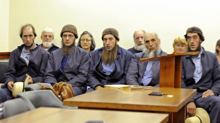 Arrested on hate crimes ... Johnny Mullet, Lester Mullet, Daniel Mullet, Levi Miller and Eli Miller.