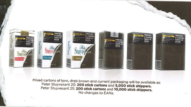 New cigarette boxes shown in Imperial's retailer brochure.