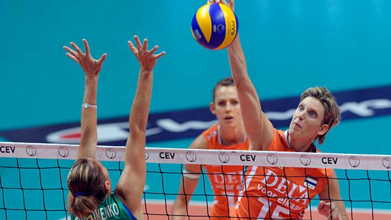 Netherlands international: Ingrid Visser, pictured playing in the 2011 European Championships.