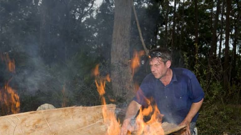 Labour of love ... James Dodd  shapes and fires a stringybark tree to make a traditional bark canoe.