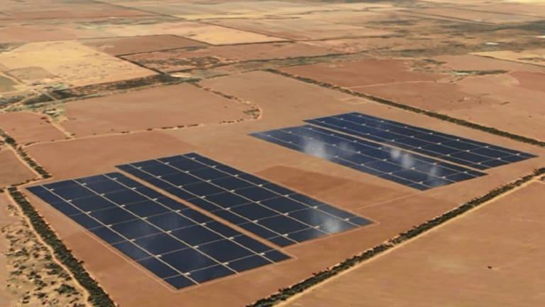 Artist's impression of the Nyngan solar plant.