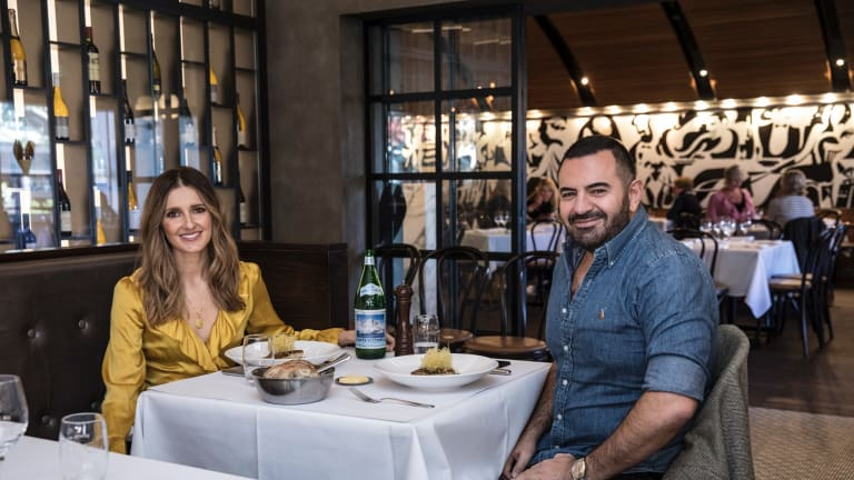 Kate Waterhouse has lunch with fashion designer Steven Khalil at Bistro Moncur, Woollahra. (Photo by Jessica Hromas/Fairfax Media)