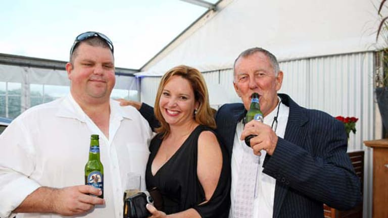 Eye on the throne ...  the mining magnate Nathan Tinkler with his wife, Rebecca,  and John Singleton.