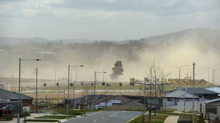 News. Gusty winds blow across the developing suburb of Coombs, making work an unpleasant task and showering the neighbouring suburbs with fine red dust.