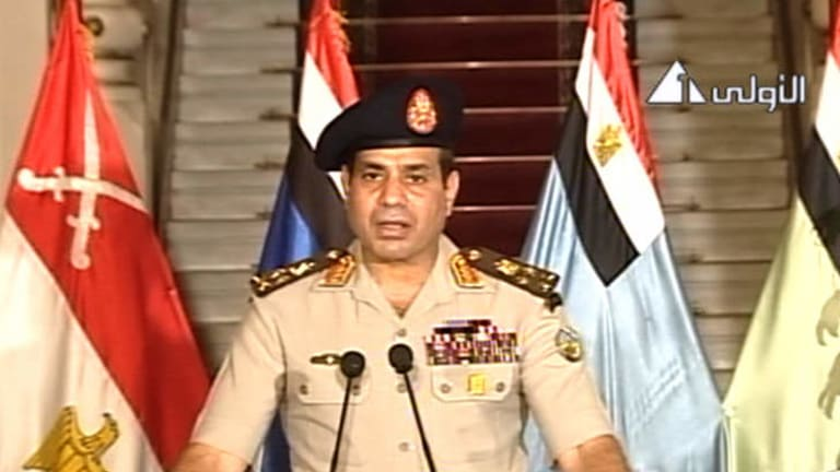 Lt. Gen. Abdel-Fattah el-Sisi addresses the nation on Egyptian State Television.