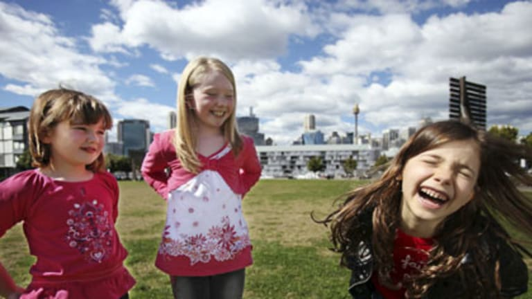 Switched on ... Lola Spence, 7, Sinead Leahy, 8, and Sofia Sabados, 7, all use technology to have fun.