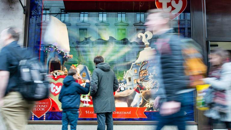 Hamley's toyshop in London at Christmas.