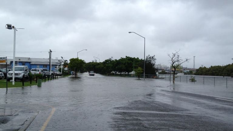 Flooding on Sandgate Road at Breakfast Creek.