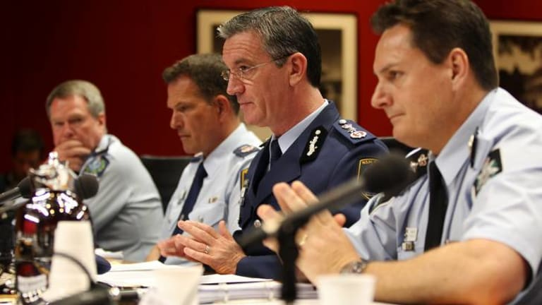 From right, AFP Police Commissioner Tony Negus,  NSW Police Commissioner Andrew Scipione, NSW Deputy Police Commissioner David Hudson and  SA Police Commissioner Gary Burns, at NSW Parliament House.
