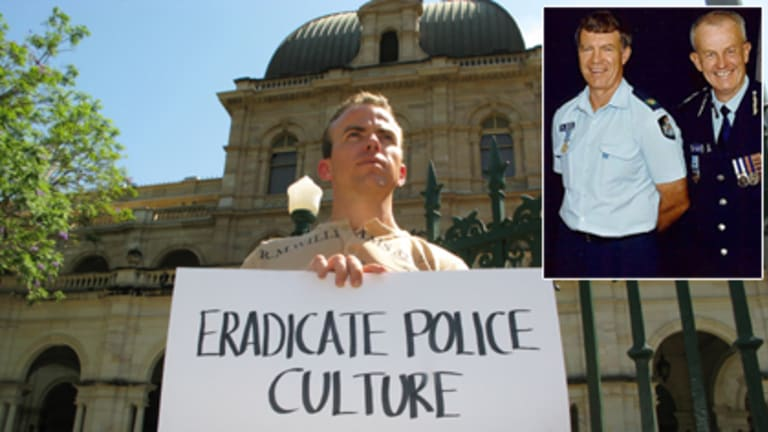 Steven Isles protests at State Parliament and (inset) his father Mick Isles with Police Commissioner Bob Atkinson.