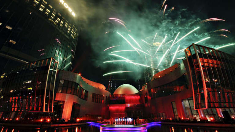 Fireworks at the opening of the City of Dreams casino in Macau, 2009.
