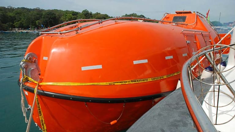 An empty Australian lifeboat that carried asylum seekers docked at Pangandaran wharf in western Java island.
