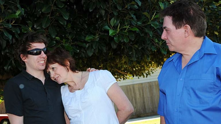Brodie Panlock's brother, Cameron, mother, Rae, and father, Damian.