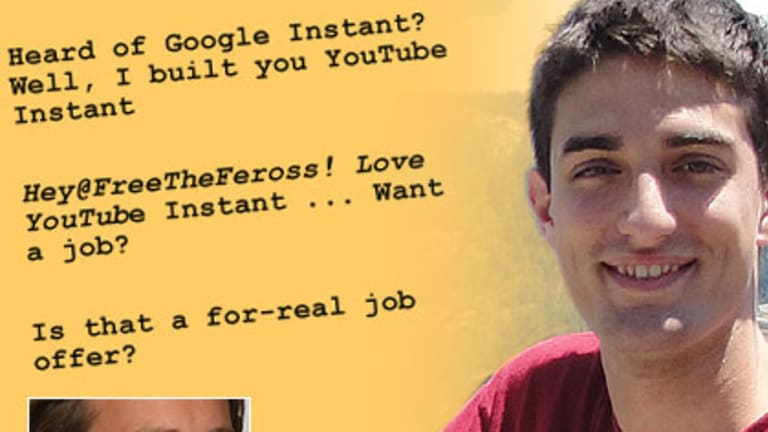 How to get a job ... fast. Feross Aboukhadijeh's instant search was an instant hit with YouTube boss Chad Hurley, inset.