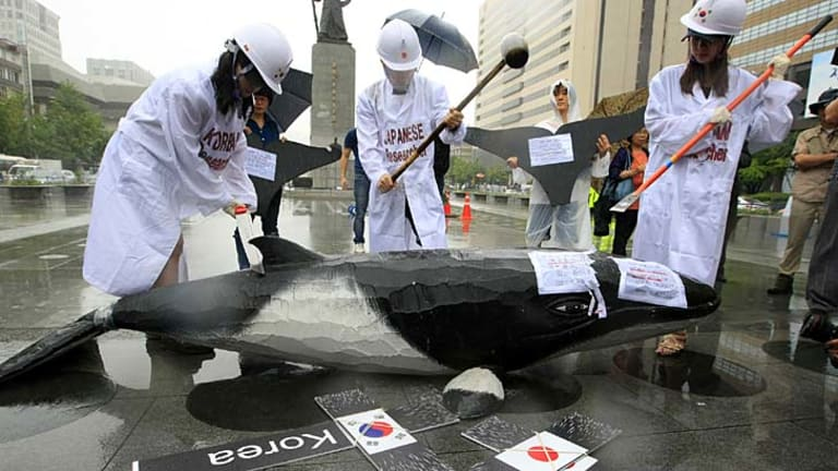 South Korean environmentalists protest in Seoul against the government's plan to introduce whaling
