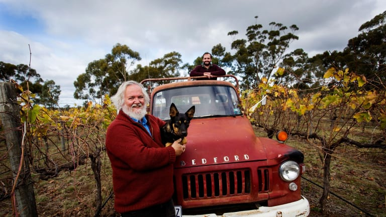 Brian Spencer, his son Spencer Page and dog Annie at the Shiraz Republic, their winery and brewery in the Heathcote wine region.