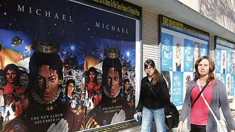 Posters promoting the launch of the posthumous album in Hollywood.