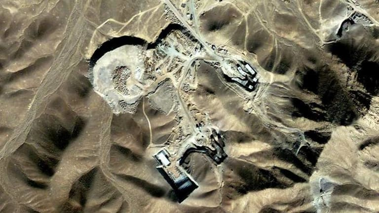 A suspected uranium-enrichment facility near Qom, 156 kilometres southwest of Tehran, is seen in this September 27, 2009 satellite photograph released by DigitalGlobe on September 28, 2009.
