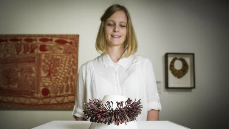 20 September 2012. Megan Sarah Carlson with her work Correa Leaves Collar. Her work was awarded in the Waterhouse Youth Art Prize as part of the Waterhouse Natural History Art Prize which is now on exhibition at the National Archives.