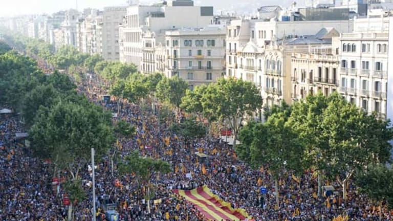 We are a nation ... organisers claim 1.5 million people took part in the demonstration in Barcelona.