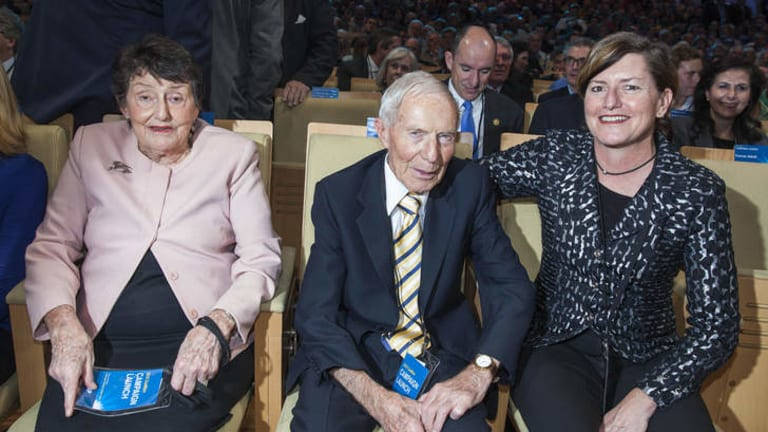 Tony Abbott's parents and sister - Faye and Dick Abbott and Christine Forster - at the Coalition election campaign launch in August.