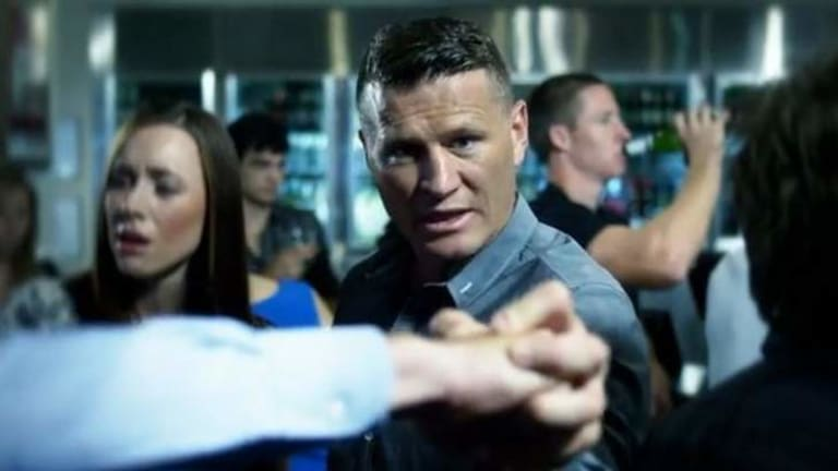 In the victim's corner: Danny Green steps in to stop a fight during his TV ad which aims to stop unnecessary violence in social situations.