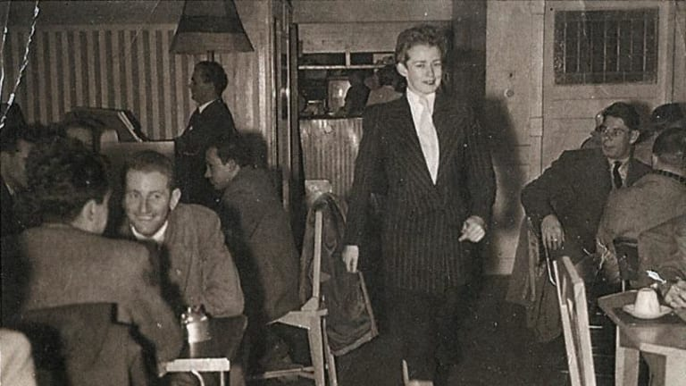 The camp crowd: Unknown photographer, Val Eastwood at Val's Coffee Lounge, c. 1950s, gelatin silver photograph.