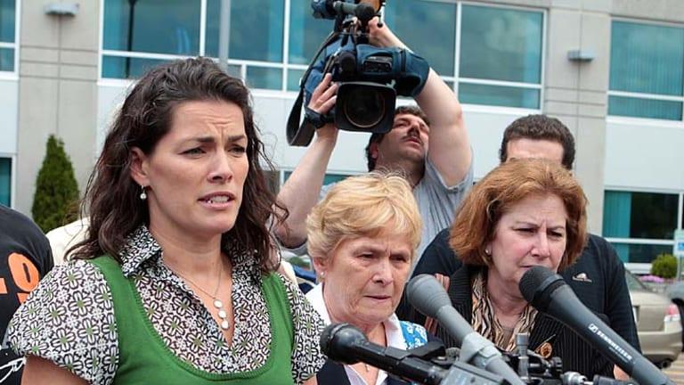 Relieved ... Nancy Kerrigan speaks to the media.