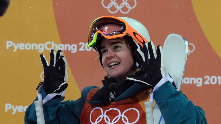 Britteny Cox after her final run in the women's moguls at the 2018 Winter Olympics in PyeongChang on Sunday.
